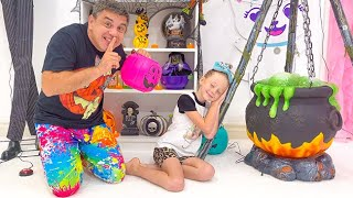 Dad decorates Nastya's room for Halloween