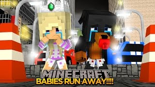 Minecraft - Donut The Dog Adventures -BABY MAX AND LEAH RUN AWAY FROM HOME!!!!