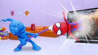 CLAY MIXER TAKES OUT SPIDERMAN FROM TV