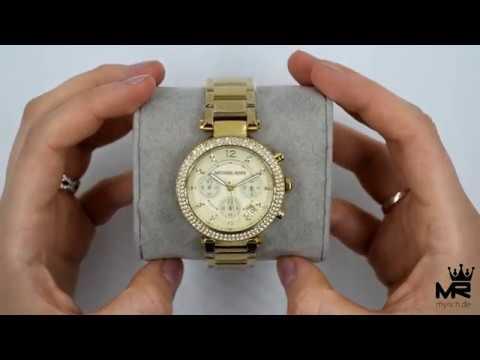 Michael Kors Damen Uhr Chonograph MK5354 Parker Gold Farbe Zirkonia Armbanduhr