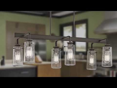 Video for Braelyn Olde Bronze Six Light Double Linear Chandelier with Clear Seedy Glass