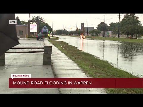 Road flooding on Mound Road in Warren