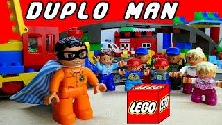 Duplo Man saves Lego Duplo village Duplo Man movie Duplos Trains for kids toys full stop motion toys