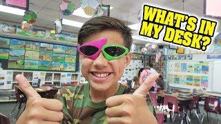 WHAT'S IN MY DESK??? Go to School with Evan & Jillian! Classroom Tour!