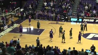 Portland State player fakes handshake, steals ball, dunks it.