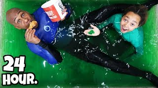 24 HOUR CHALLENGE OVERNIGHT IN SLIME!!