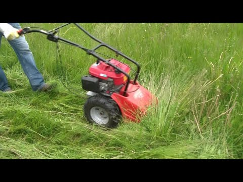 mit dem 4,5 PS Balkenmäher durchs nasse Gras, with the 4,5 hp cutter bar mower through the wet grass