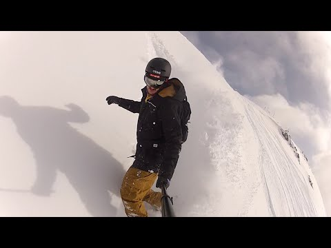 DIY swallowtail snowboard first powder run in Kappl, Austria