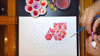 Watercolour #4 - Painting And Blending - Islamic Geometric Patterns