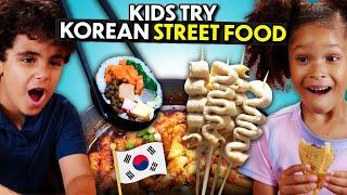 Kids Try Korean Street Food For The First Time! (Tteokbokki, Kimbap, Hotteok, Bungeo-ppang)