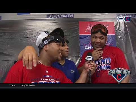 Jose Ramirez grabs microphone to interview Edwin Encarnacion amid Indians' postgame celebration