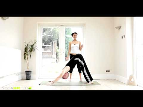 Downward Dog One Leg Up Introduction (How To) YogaLifeEtc With Aisah & Michael