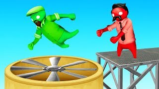 BEAT The SPINNING BLADES to WIN! (Gang Beasts)