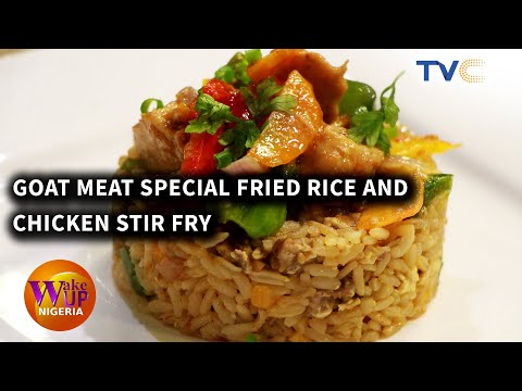 Delicious Meal: Goat Meat Special Fried Rice And Chicken Stir Fry
