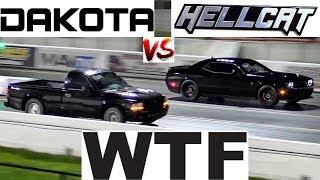 HELLCAT Gets SURPRISED by Sleeper Dakota - 1/4 mile Drag Race - Road test TV