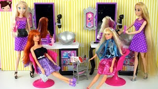 Elsa & Rapunzel Barbie Beauty Salon - Doll Hair Wash, DIY Cut And Hair Style Color Change