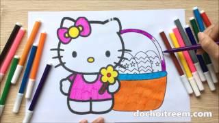Đồ chơi trẻ em TÔ MÀU TRANH MÈO HELLO KITTY, HỌC TÔ  MÀU - Color Painting, Learn Color (Chim Xinh)