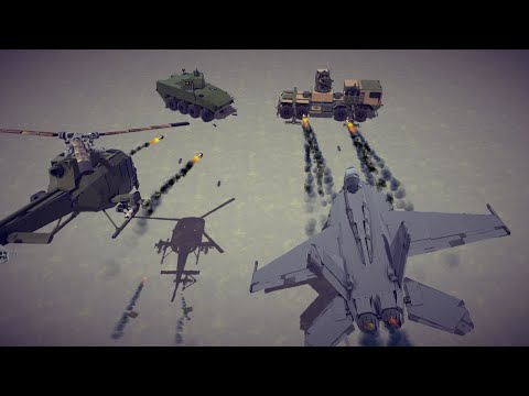 Attack Aircrafts vs Armored Vehicles #4   Besiege