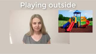 Playing outside. Easy English
