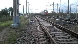 Резкая смена скорости грузового поезда, Ладожский вокзал 2016. Электровоз ВЛ10-1347