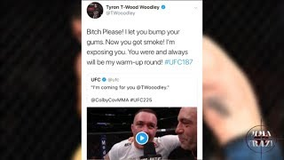 Tyron Woodley reacts to Colby Covington win over Rafael Dos Anjos at UFC 225