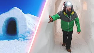 We Stayed in an ACTUAL Igloo Hotel Made of Snow! (On the Top of a Mountain)