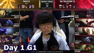 FNC vs SKT | Day 1 S9 LoL Worlds 2019 Group Stage | Fnatic vs SK Telecom T1 full VOD