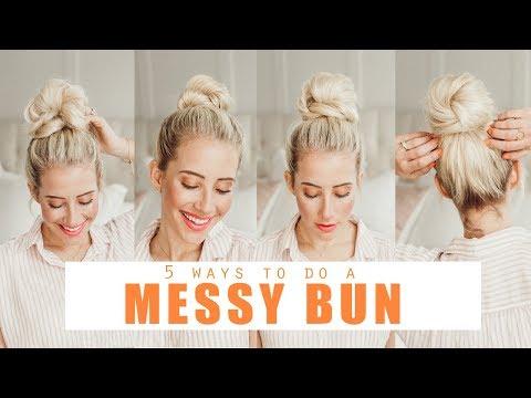 5 ways to do a MESSY BUN!!!! Easy Hairstyles