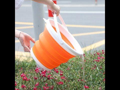 Складное ведро силиконовое на 10 л для рыбалки/туризма/автомобиля/дома Silicone Bucket (SВ-28591) Video #1