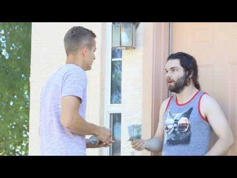 YouTuber knocks on random doors and offers to pay the rent of anyone who answered. First guy thinks he's a literal angel.