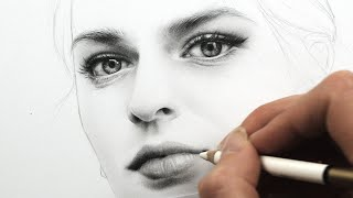 Drawing And Shading A Female Face With Pencils - In A Dream