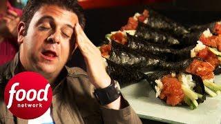 Can Adam Complete Bushido's Spicy Tuna Roll Challenge?   Man v Food