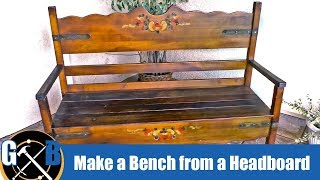 Make A Bench From A Vintage Headboard And Other Upcycled Materials:: How To