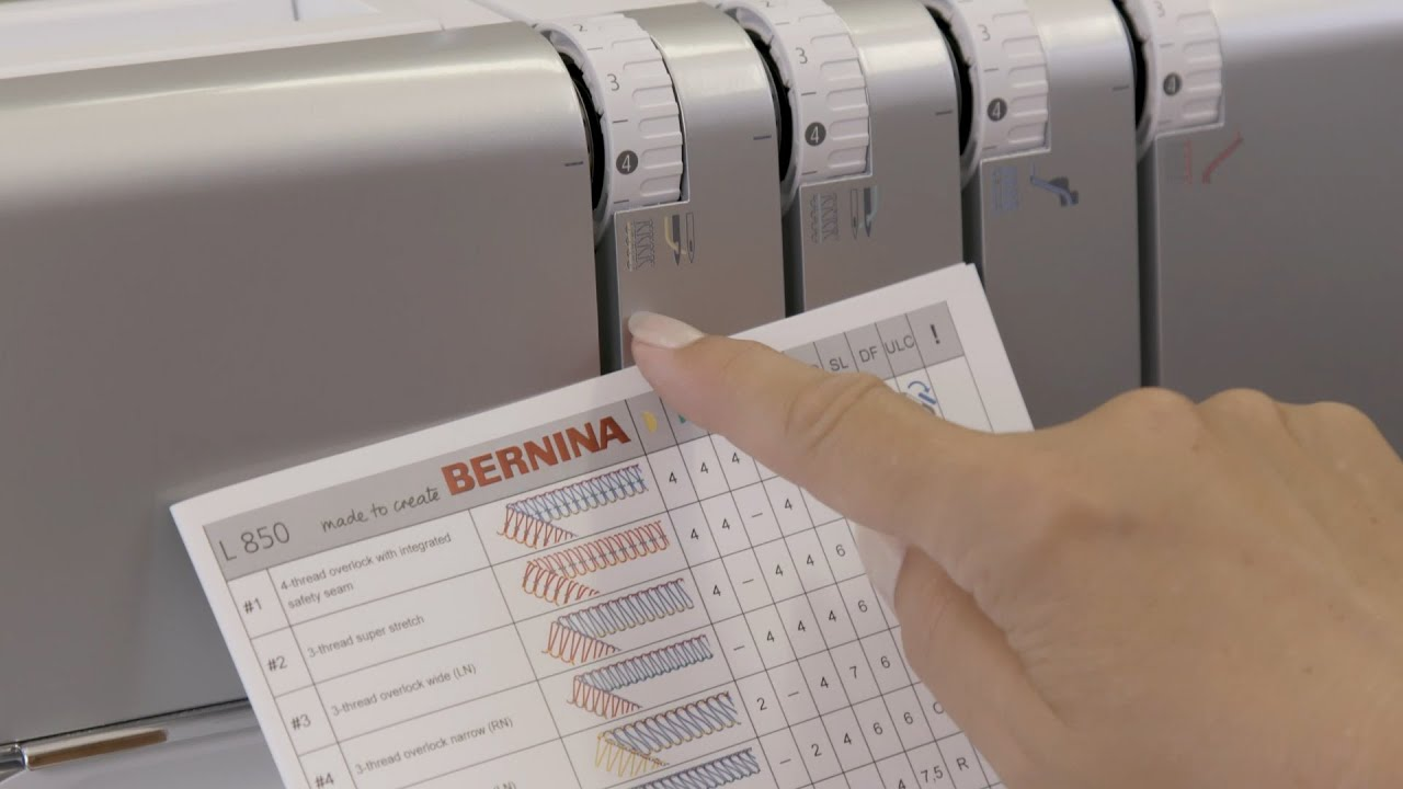 BERNINA L 850 Overlock: Stichwahl, Stichtabelle, Symbole, Bedienelemente (2/21)