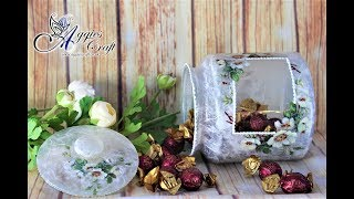 Decoupage Tutorial - Cookie Jar With Rice Paper - Mix Media