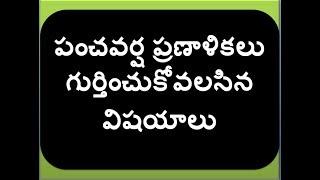 panchavarsha pranalikalu important points