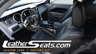 2005-2009 Ford Mustang Custom Black Leather Upgrade Kit - LeatherSeats.com