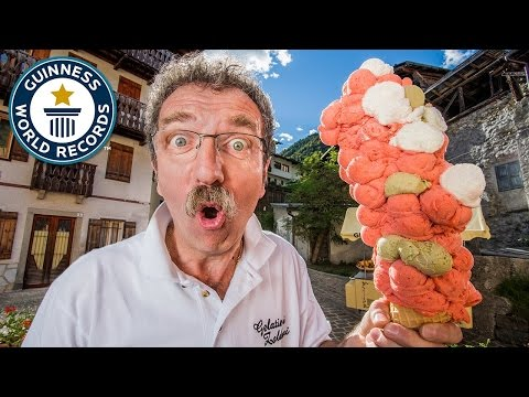 Most ice cream scoops on a cone - Guinness World Records