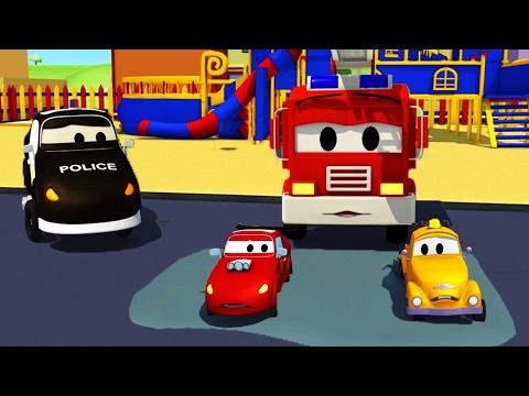 La Super Patrulla: camión de bomberos y patrulla de policía en Bebés coches atascados en el cemento
