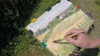 Watercolour landscape painting Plein Air.