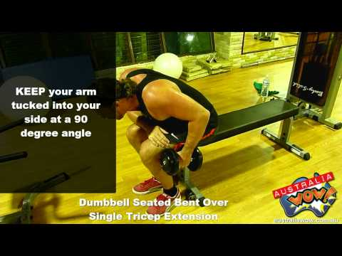 Dumbbell Seated Bent Over Single Arm Tricep Extension
