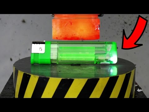 EXPERIMENT Glowing 1000 degree HYDRAULIC PRESS 100 TON vs BIG LIGHTER