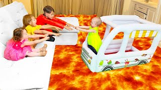 Five Kids The Floor Is Lava Song + More Childrens Songs And Videos