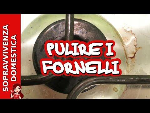 Pulire il piano cottura e i fornelli con aceto e bicarbonato
