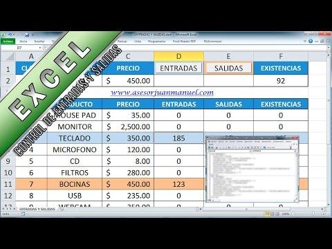 Control de entradas y salidas en excel - Asesor Juan Manuel