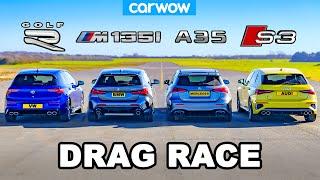 [carwow] VW Golf R v BMW M135i v Audi S3 v AMG A35: DRAG RACE
