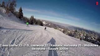 """Trasa czarna 23 """"FIS"""", czerwona 22 i niebieska 25 Skrzyczne-Szczyrk ok. 3200m"""