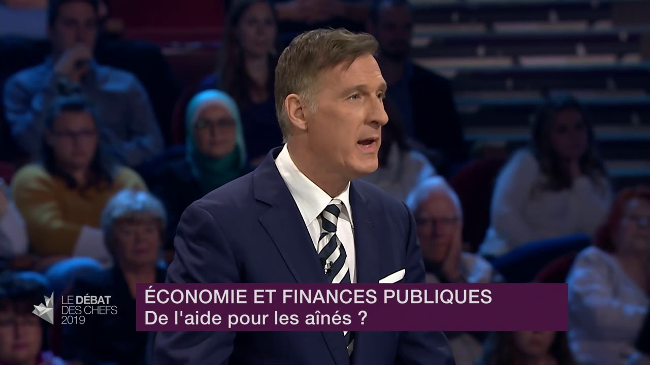 Maxime Bernier answers a question about financial help for seniors