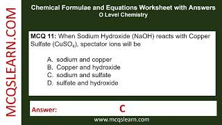 Chemical Formulae And Equations Worksheet With Answers - MCQsLearn Free Videos