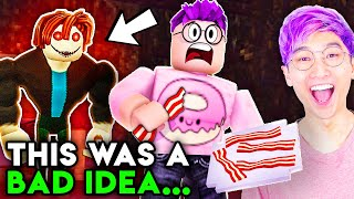 Can You ESCAPE BAKON While EATING BACON!? (SCARY ROBLOX GAME)